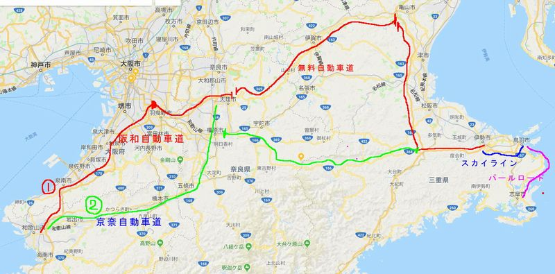 和歌山-三重 map